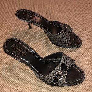 Coach Shoes - Coach Ashleigh Black/Gray Jacquard Heeled Sandals